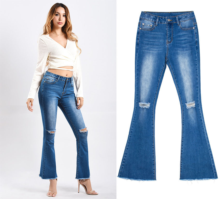 Women\`s dress of Europe and America 2018 new wide leg trousers jeans denim flared trousers women\`s worn-out edge trousers (7)