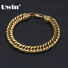 Uwin 8mm&10mm Gold Color Women/Men Brand Bracelet Miami Cubic Link Chain Bracelets Fashion Hiphop Jewelry 21.5cm(China)