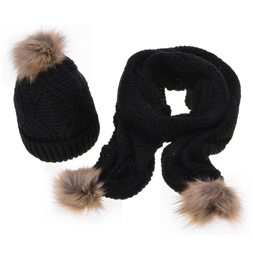 Autumn And Winter New Arrive Fashion Women's Wool Keep Warm Computer Knitting Solid Knit Scarf Hat Set With Pompom Decoration