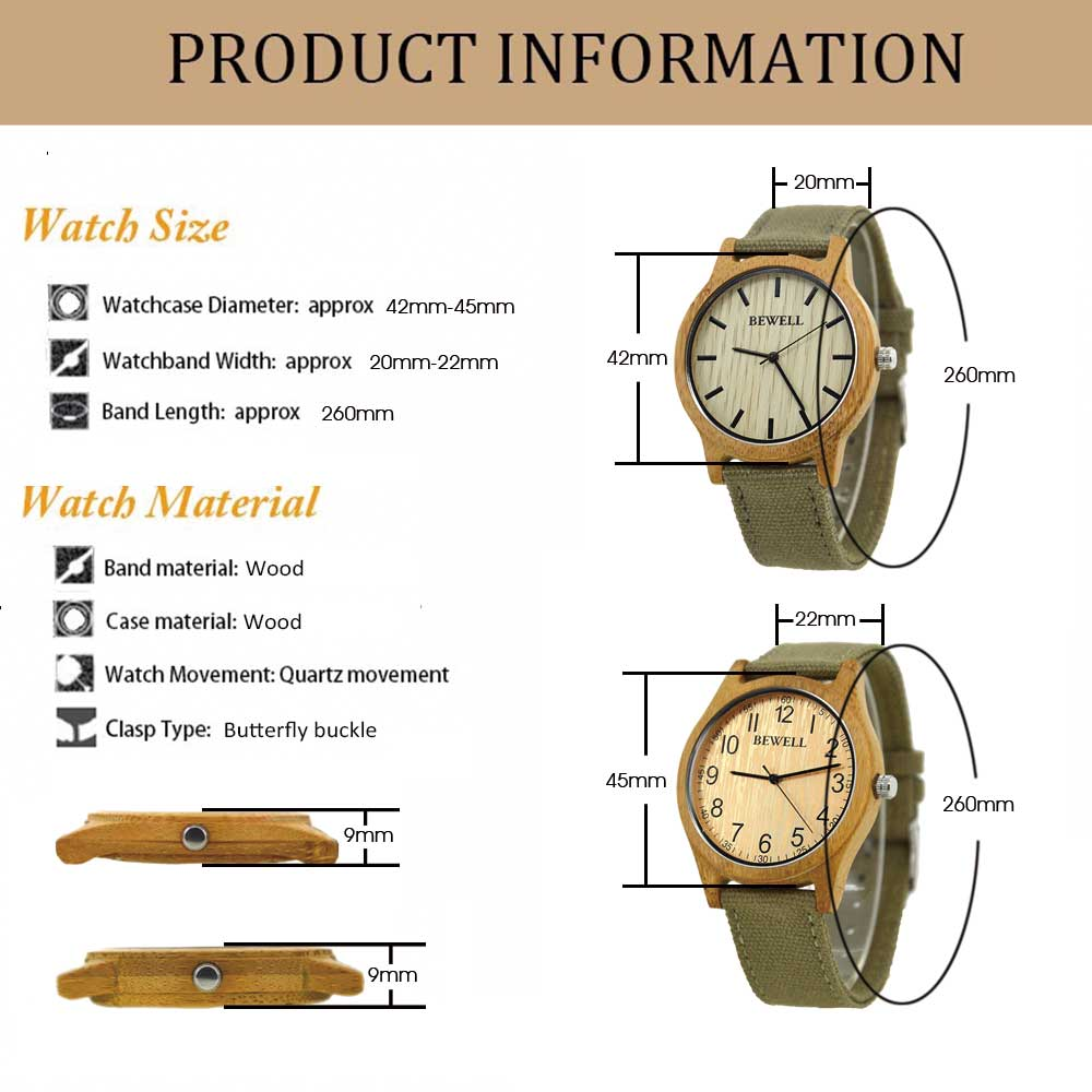 BEWELL Bamboo Wood Watch Analog Digital For Men 55