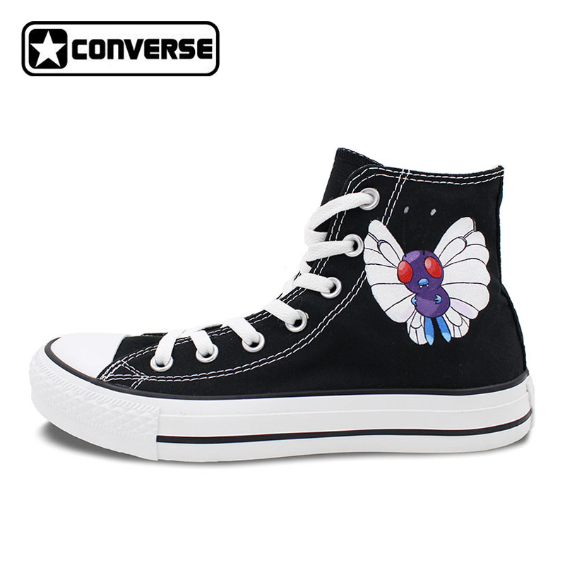 Butterfly Design Converse Chuck Taylor Men Women Shoes Pokemon Butterfree Black Custom Hand Painted Shoes Boys Girls Sneakers