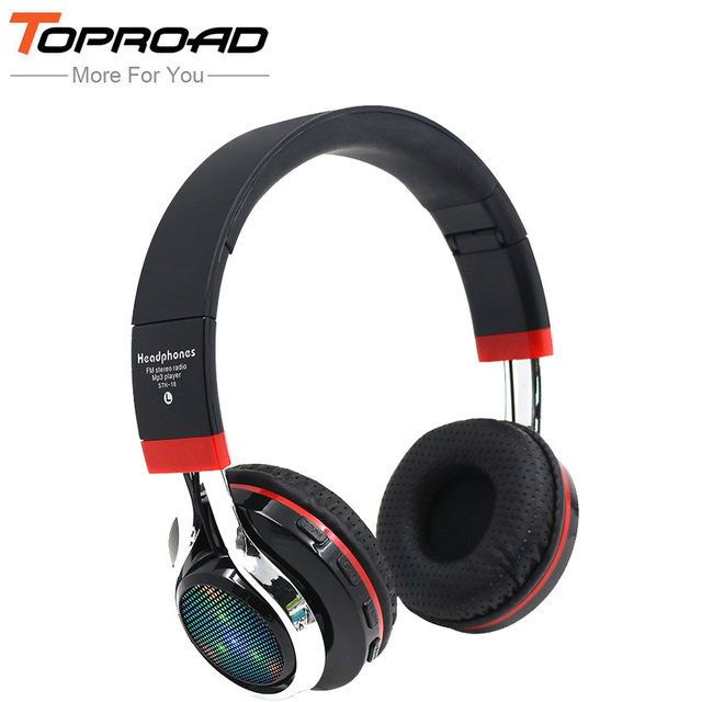 2a19144c76d TOPROAD Glowing Wireless Bluetooth Headphone Portable Headband Headset  Stereo Heavy Bass Earbuds LED Mic TF FM For Cellphones PC