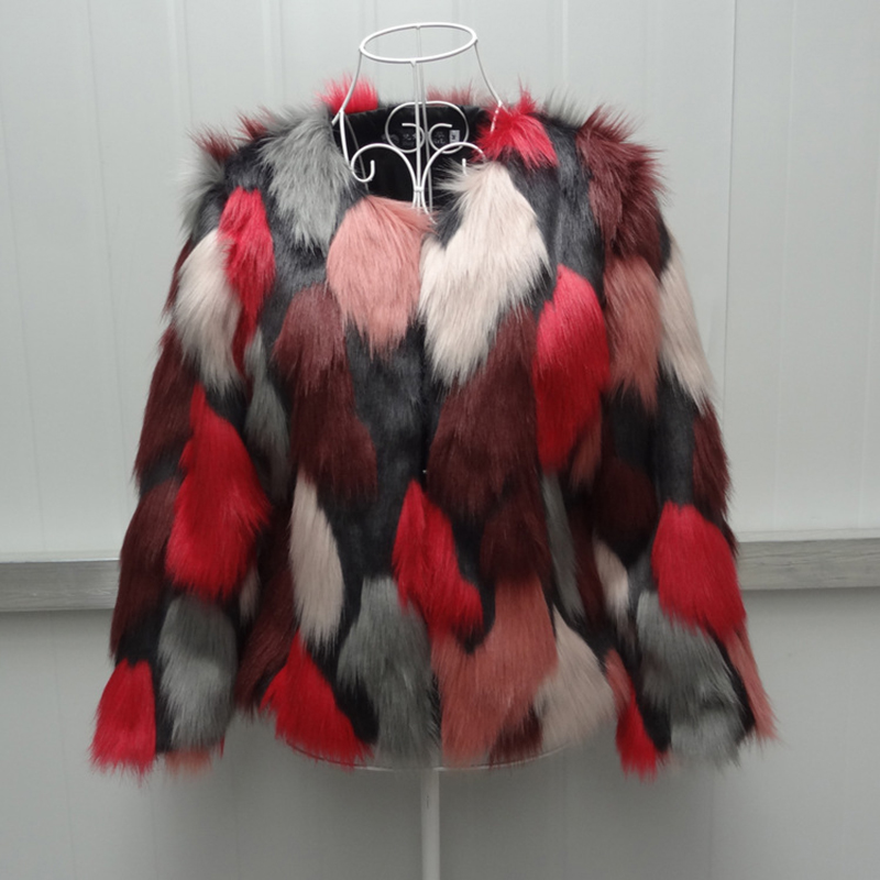 Red Color Mixing Faux Fox Fur Coat Women Winter Warm Jacket 2018 Fashion Female Long Sleeve Fur Outerwear Jacket Plus Size 6XL