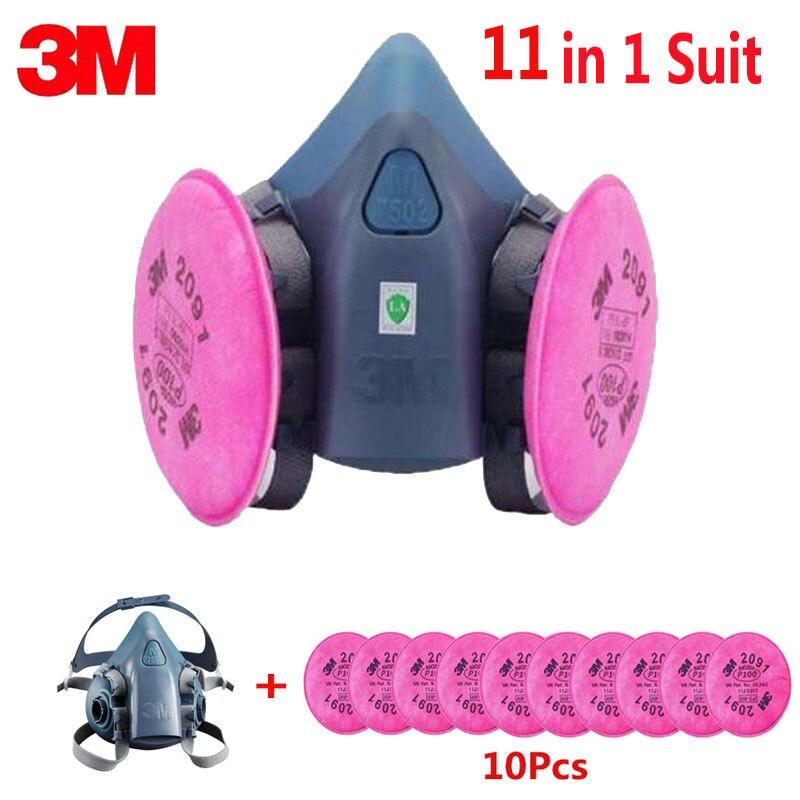 3 M 7502 La Moitié Du Visage Masque 11 En 1 Costume Avec 2091 L'industrie Peinture Travaux de Pulvérisation Masque Respirateur Anti-poussière Respirateur Fliters