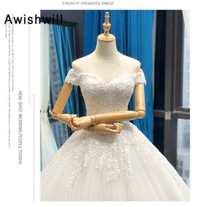 Image 3 - Vestido de Noiva 2020 Princess Wedding Dresses Off Shoulder Applique Lace Ball Gown Bridal Dress Plus Size Robe De Mariee