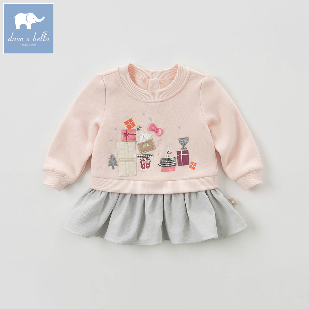 DB5528 dave bella autumn baby girls printed tee kids cotton sweet tops children high quality blouses