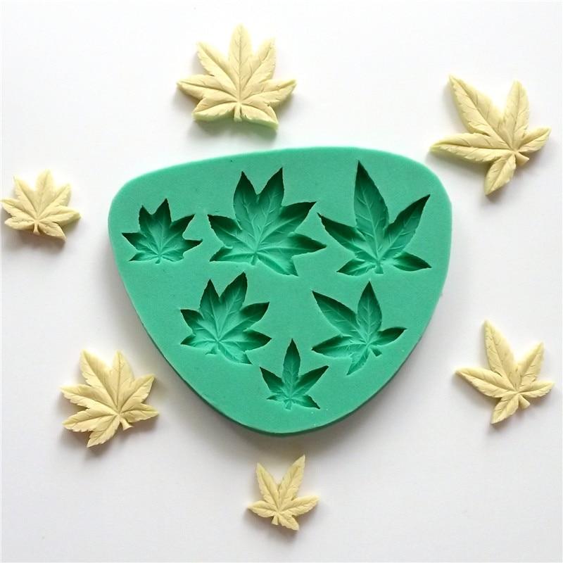 6 Maple Leaf Tvar Cake Fondant Formy pro dort formy Impression Mat Pečení Pečivo Nástroje Dezertní dekorace LH11