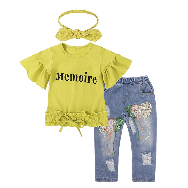 Toddler Baby Kids Girls Clothes Sets Outfit short Sleeve T-shirt Tops Jeans Pants Headbands 3pcs set Clothing Set Girl