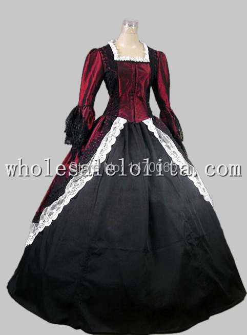 Custom 18th Century Gothic Wine Red & Black Marie Antoinette Period Dress Performance Clothing Halloween Costume Refreshing And Enriching The Saliva Dresses