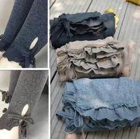 Cordón de la vendimia del cordón pantalones casuales pantalones de algodón básica hembra mori