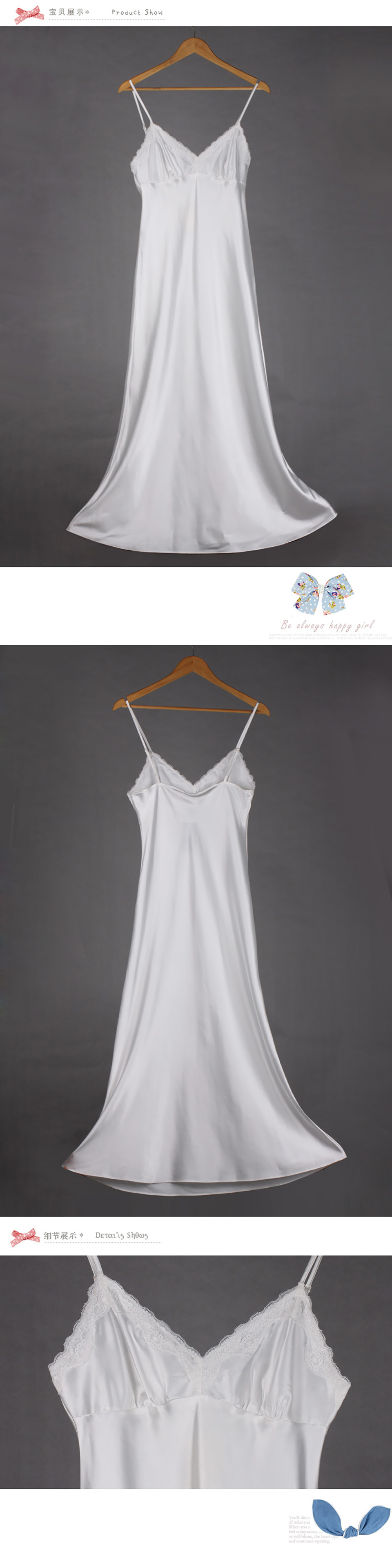 9330053e4c 2019 Lace Nightgowns V Neck Sleepdress White Ankle High Nightwear ...
