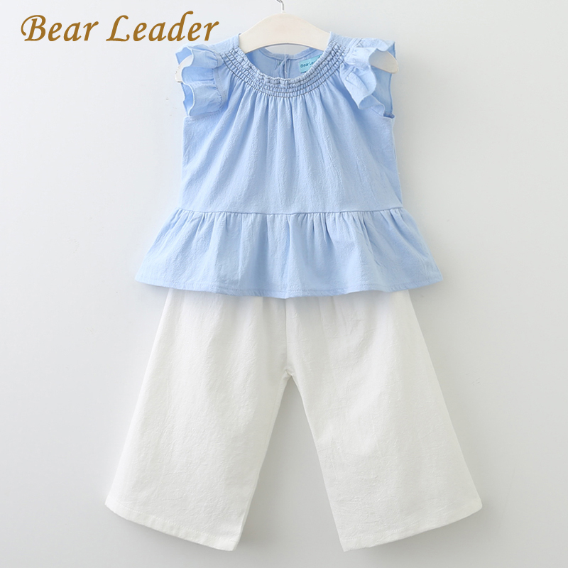 Bear Leader Girls Sets 2018 New Children Clothing Sleeveless Shirt +White Pants 2Pcs for Baby Girls Clothes Fashion Girls Suits deborah trendel leader iv therapy for dummies