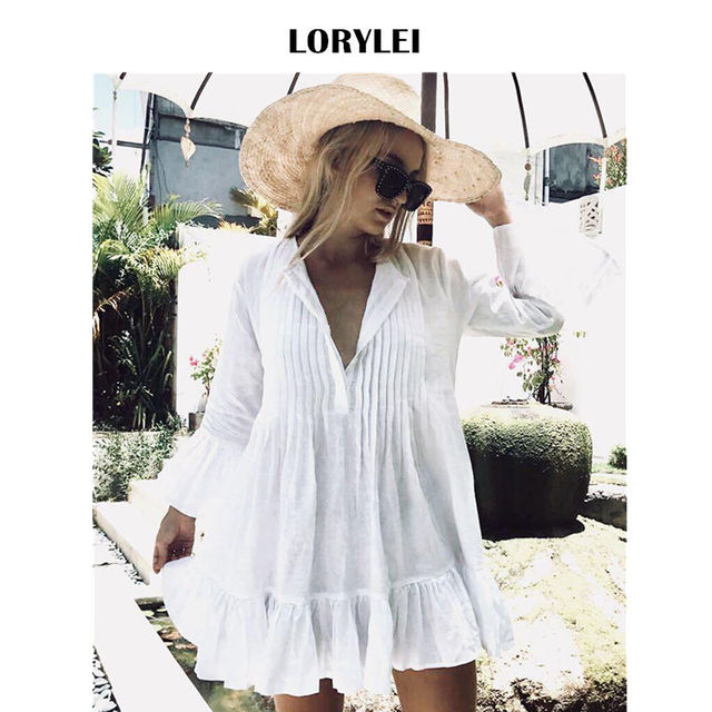 3f0abacdc4 Women Summer Long Sleeve White Cotton Tunic Beach Dress Swim Cover Up Plus  Size Sexy V Neck Flare Sleeve Pleated Mini Dress N606
