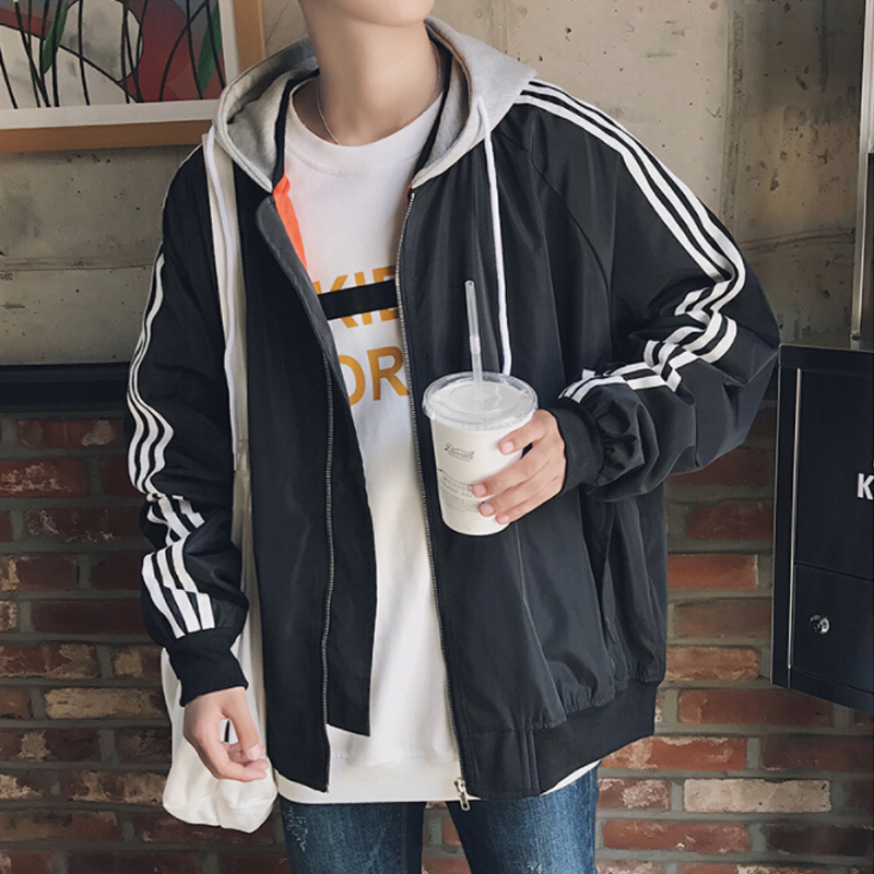 Korean style large jacket men 2018 autumn winter new arrival zipper coats hip hop streetwear tracksuits youth casual full sleeve