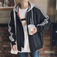 Korean style large jacket men 2018 autumn winter new arrival zipper coats hip hop streetwear tracksuits youth casual full sleeve