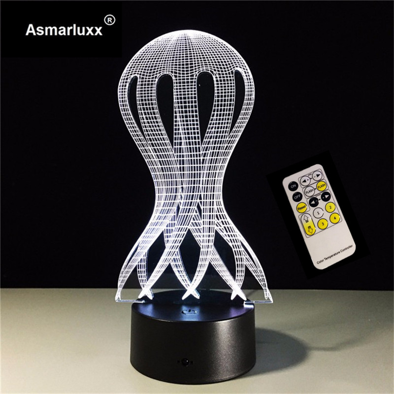 3D LED Optical Illusion Multi-Color Changing Jellyfish Night Light LED Desk Table Night Light Home Decor Remote/Touch Control