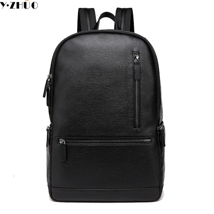 2018 new Mens Backpacks Man Rucksack 14 Inch Laptop Bag Student Schoolbags Men Travel Leather Backpack Bags Black bagpack swdvogan new travel backpack korean women rucksack pocket genuine leather men shoulder bags student school bag soft backpacks
