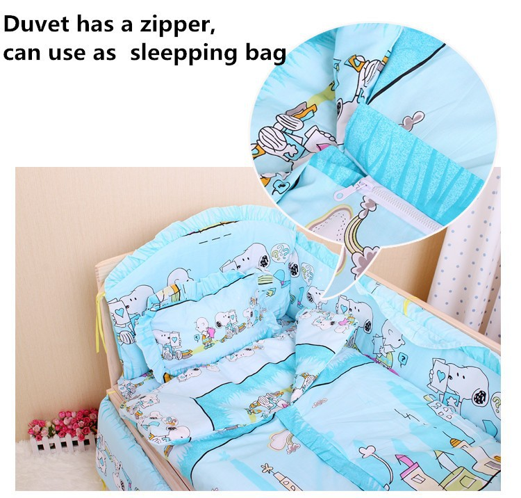 Promotion! 6PCS Bedding Baby Cradle Crib Netting Bedding Set for Newborn Baby Products,unpick(3bumpers+matress+pillow+duvet)