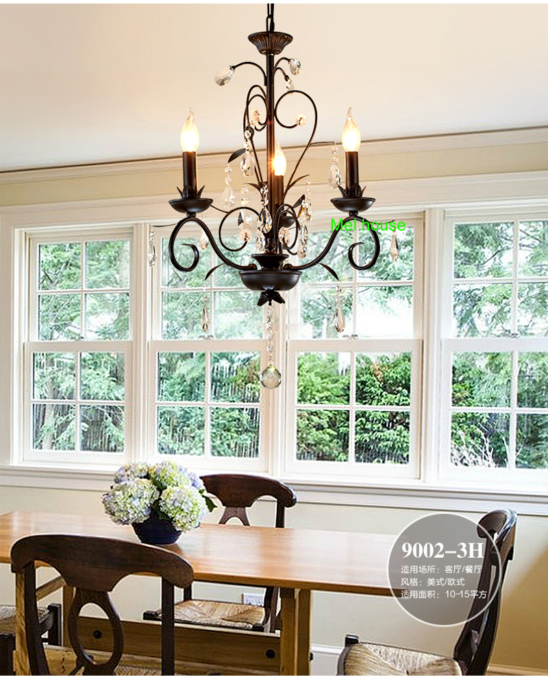 Rustic Lighting Retro Chandelier Pendant Black Iron Candle Chandelier  Living Room Kitchen Chandelier Lighting Lamp Bedroom In Chandeliers From  Lights ...