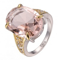 Hot Sale Huge Morganite 925 Sterling Silver Fashion Design Ring Size 6 7 8 9 10