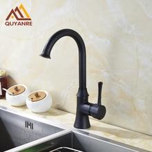 Черный цвет простой дизайн кухни Поворотный водопроводной воды Одной ручкой кран раковины ванной комнаты