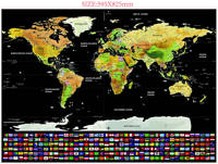 Drop Shipping Luxury World Map National Flag Custom Map Scratch Off Layer Black Gold Foil Coating