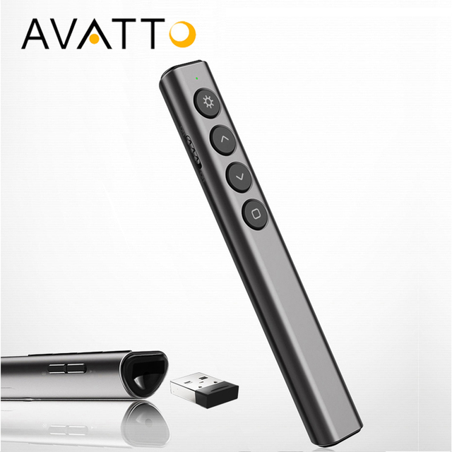 Big Sale [AVATTO] RF 2.4GHz Wireless Mini Presenter with Laser, PowerPoint PPT Clicker Remote Control Pen for Projector Multmedia Devices