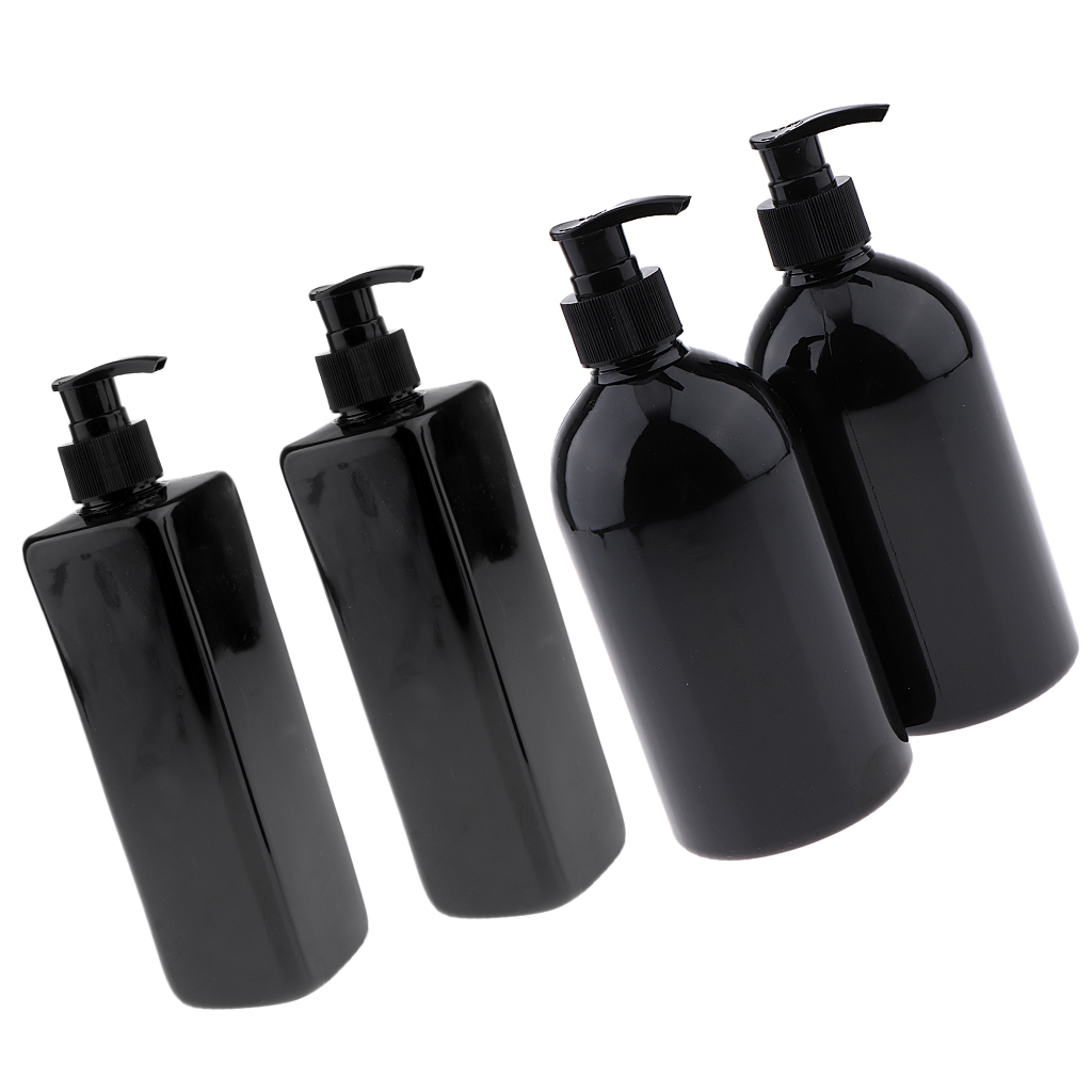 4 Pack Black 500ml Empty Plastic Pump Bottles, Refillable Bottles for Lotions, Liquid, Shampoo