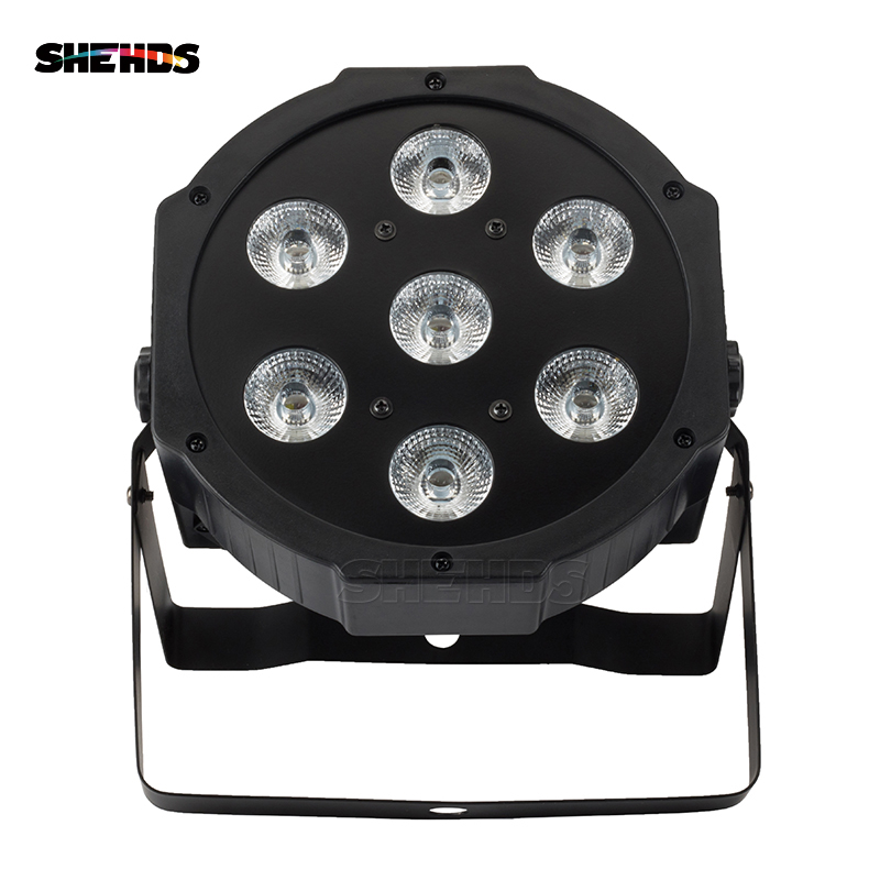 SHEHDS LED 7x18W RGBWA+UV Par Light with DMX512 IN/OUT and Power IN & OUT 6in1 stage light effect for Wash Effect DJ disco