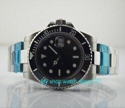 40mm PARNIS szafirowe szkło czarna ceramiczna ramka szkiełka zegarka automatyczny mechanizm self-wiatr mężczyźni zegarki luminous mechaniczne zegarki 23SY