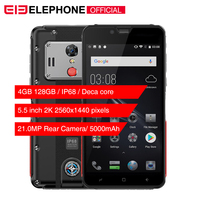 ELEPHONE Soldier 4GB 128GB IP68 Waterproof 5.5 2K Screen mobile phone Android 8.0 Helio X25 Deca Core 21MP rugged Smartphone