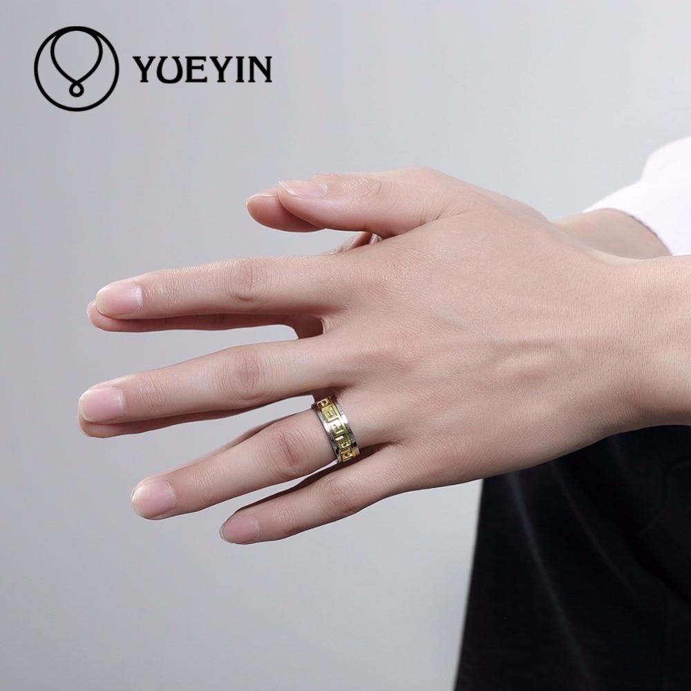 YUEYIN Hot Wedding Ring Gold Color Greek Key Pattern Male Rings ...