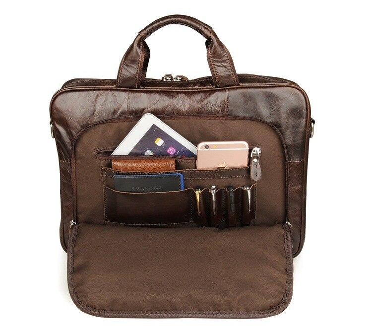 Nueva moda bolsos de mensajero de cuero genuino para hombre, bolsos de cuero de vaca, bolso de cuerpo cruzado para hombre, Casual, bolsa de maletín comercial # MD J7334 - 4