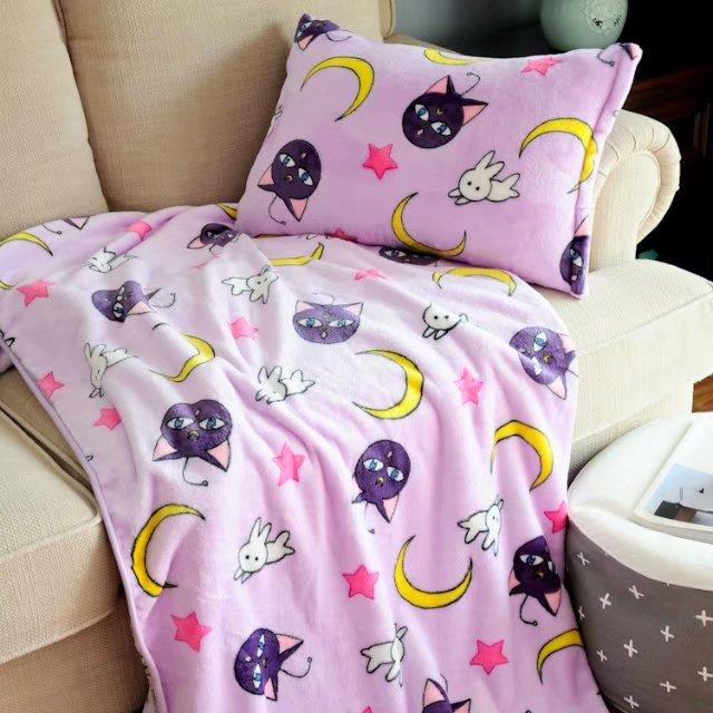 Kawaii Sailor Moon Purple Blanket & Pillow Case