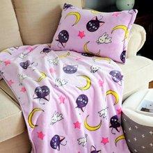 Candice guo! Super słodki pluszowy zabawka Sailor Moon luna kot miękki klimatyzacja koc poszewka kreatywny urodziny prezent na boże narodzenie 1p tanie tanio Miękkie i pluszowe Zwierzęta Pp bawełna Koty Unisex 3 lat 20170803115 take care blanket China (Mainland) Soft
