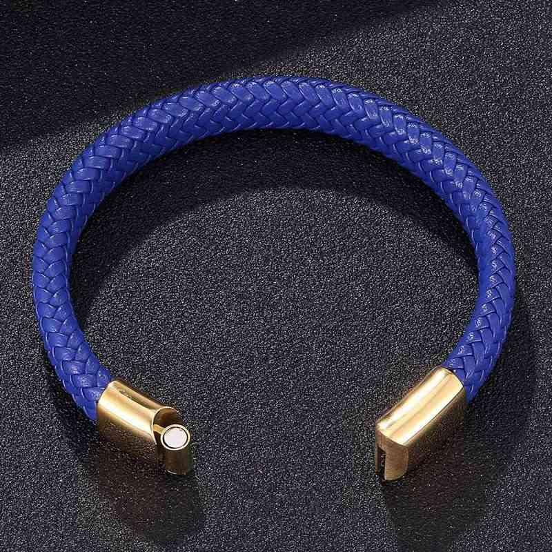 Casual biżuteria mężczyźni niebieski pleciony skórzany Rope Handmade bransoletka złoty klamry magnetyczne bransoletki opaska ze stali nierdzewnej SP0231