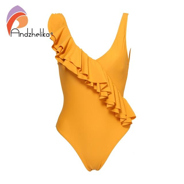 912ccd158145f Andzhelika 2019 Sexy One-piece Swimsuit Yellow Solid Falbala V neck Ruffle  Monokini Ladies Beach Bathing Suit Swimwear AK18976