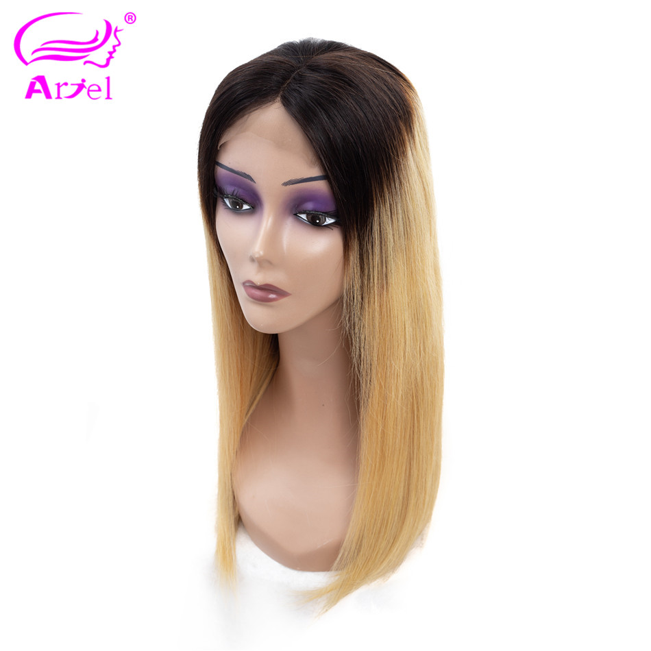 ARIEL Honey Blonde Lace Front Human Hair Wigs Remy Indian Hair 130 Density Ombre Color 2