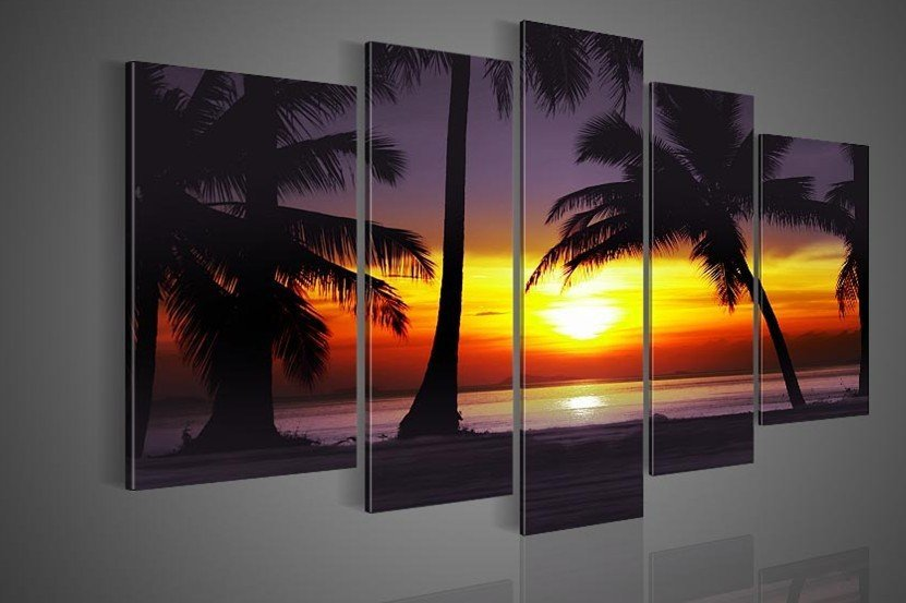 5 Piece Landscape Paintings On Canvas Wall Art Beautiful Scenery Sunset Seascape Beach Palm Tree Pictures For Living Room In Painting Calligraphy From
