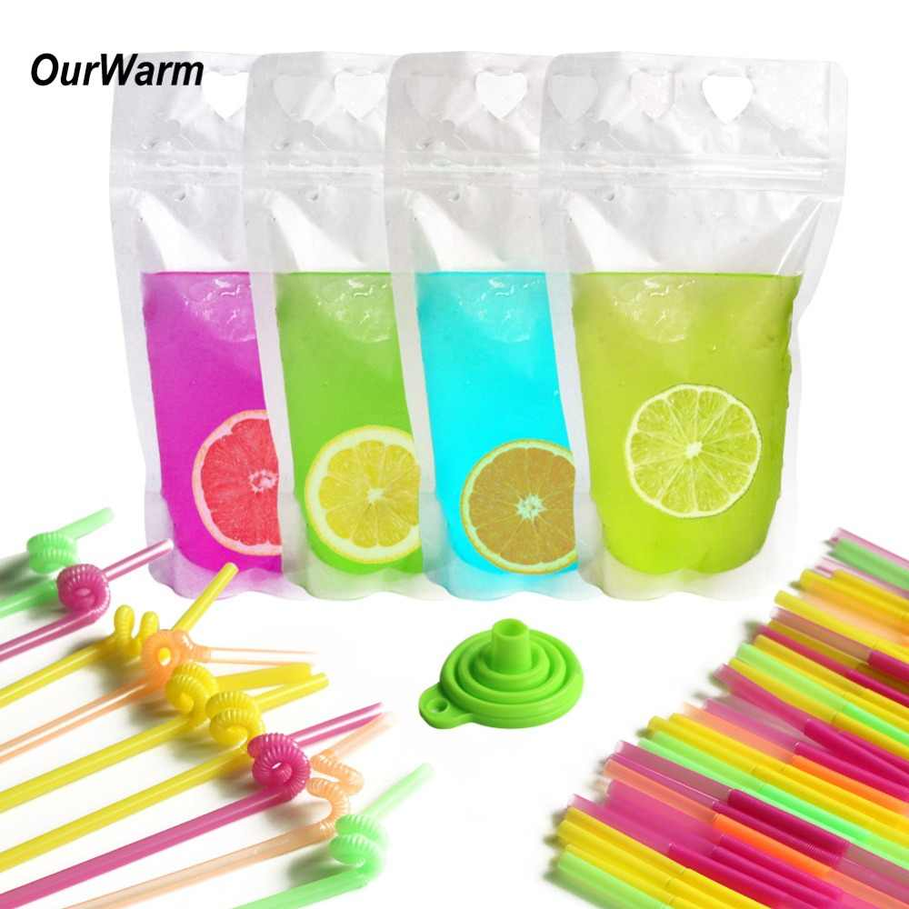 OurWarm 50 set Hawaiian Luau Party Decorations Disposable Drink Pouches with Straw Disposable Party Tableware