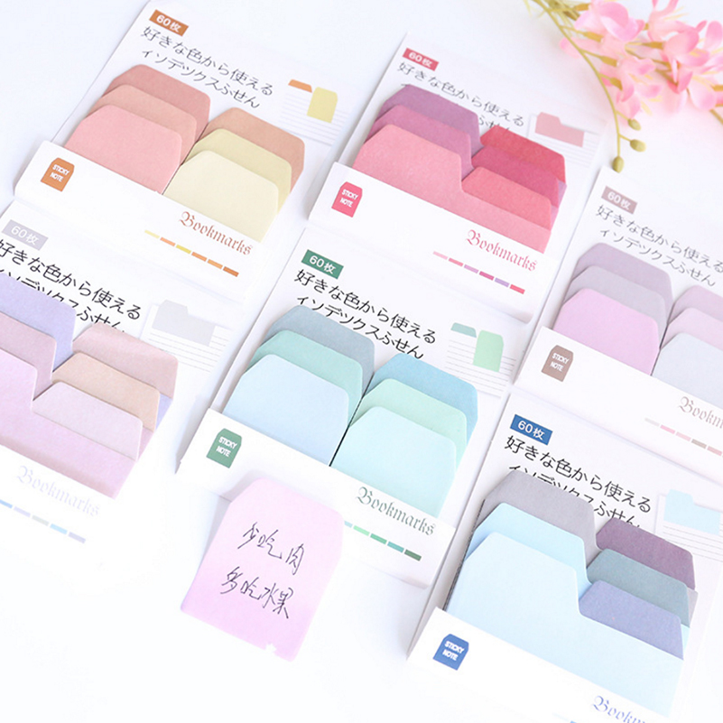 1 Set Kawaii Memo Pads Sticky Notes Cute 60 Colorful Paper Post It Scrapbooking Stickers Office School Stationery Bookmark