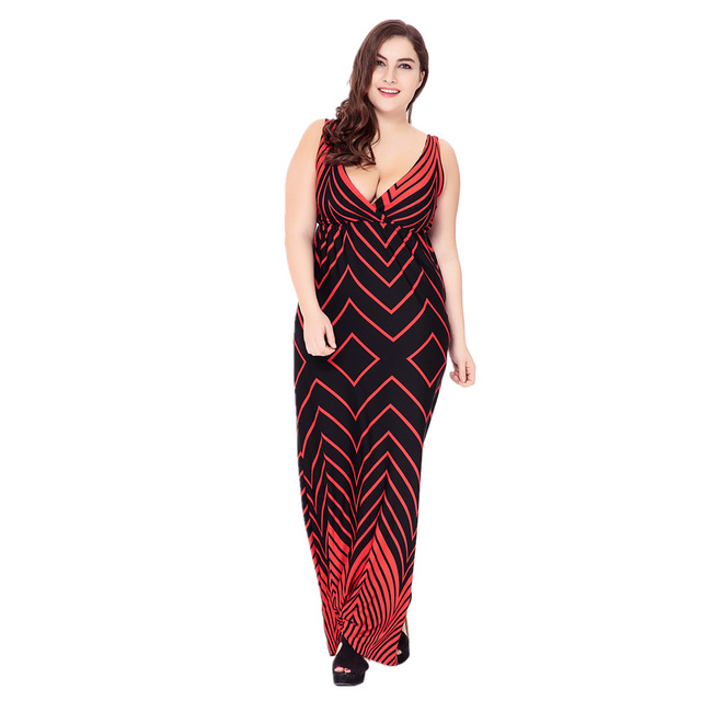 VITIANA 2017 Women Summer Sexy Casual  Clothing Femme Boho Beach Red Print V Neck Maxi Long Party Dress Plus Size 5XL 6XL