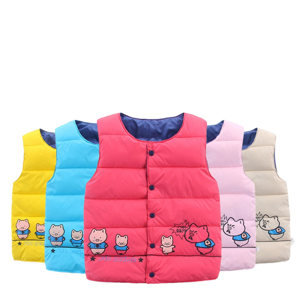 Expressive 2019 New Autumn And Winter Keep Warm Childrens Kids Baby Girls Boy Sleeveless Piglet Print Warm Jacket Waistcoat Tops Casual #35 Outstanding Features Girls' Clothing