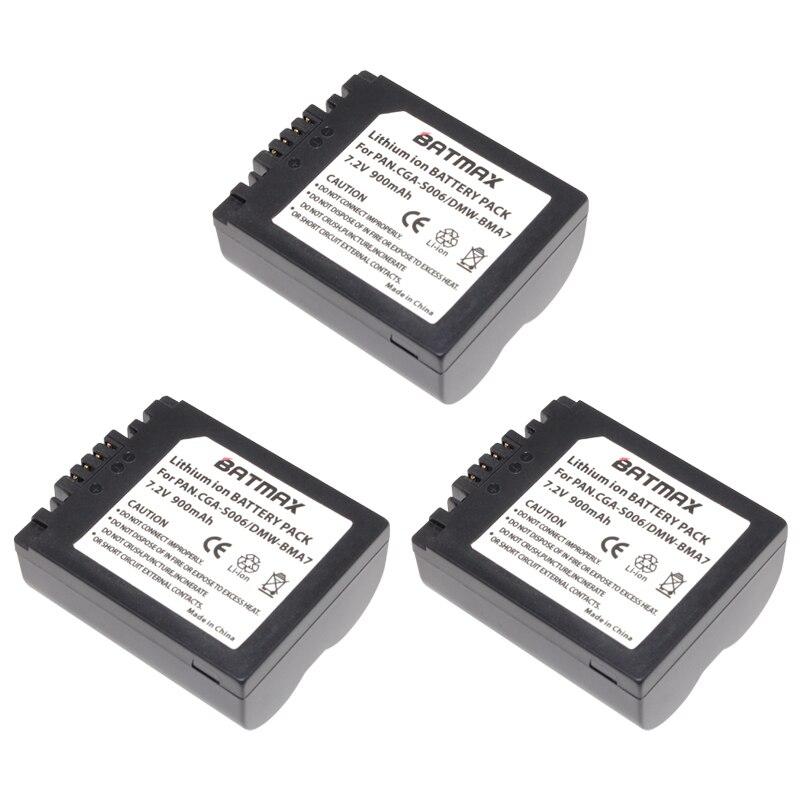 3Pcs CGR-S006E CGR S006E S006 Camera Battery +LCD USB Charger for Panasonic DMC-FZ7 FZ30 FZ50 FZ28 FZ18 TZ8 FZ8 FZ38 FZ35 Camera
