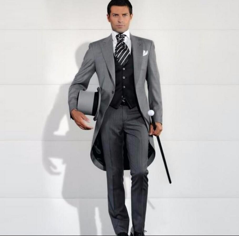 10.1 Custom Made Grey color Men Slim Fits Suits three-piece Tuxedos Grooms Suits Wedding Suits Dress high quality
