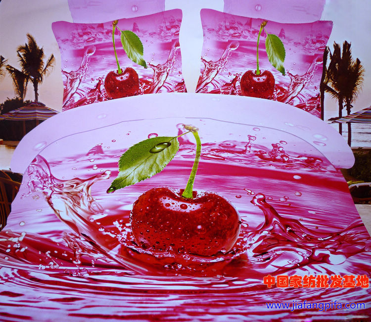 ᗗ3D rojo cereza Ropa de cama conjunto tamaño de la Reina edredón ...