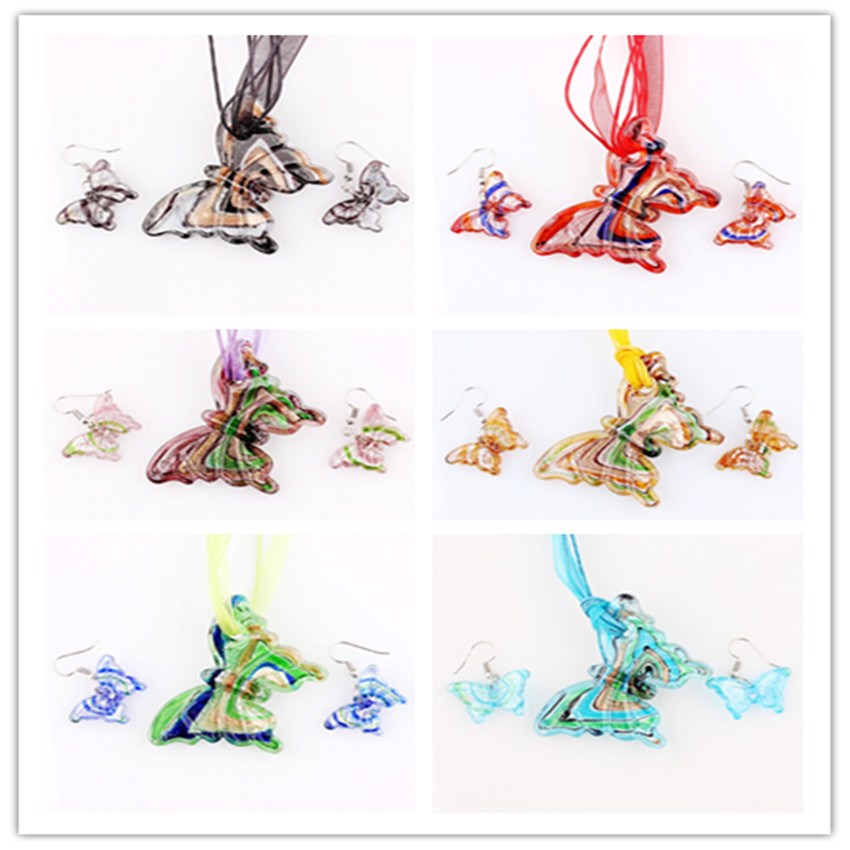 QianBei Wholesale Bulk 6sets Murano Lampwork Glass Butterfly Pendant Silver P Beauty charms Necklace+Earrings For women gift