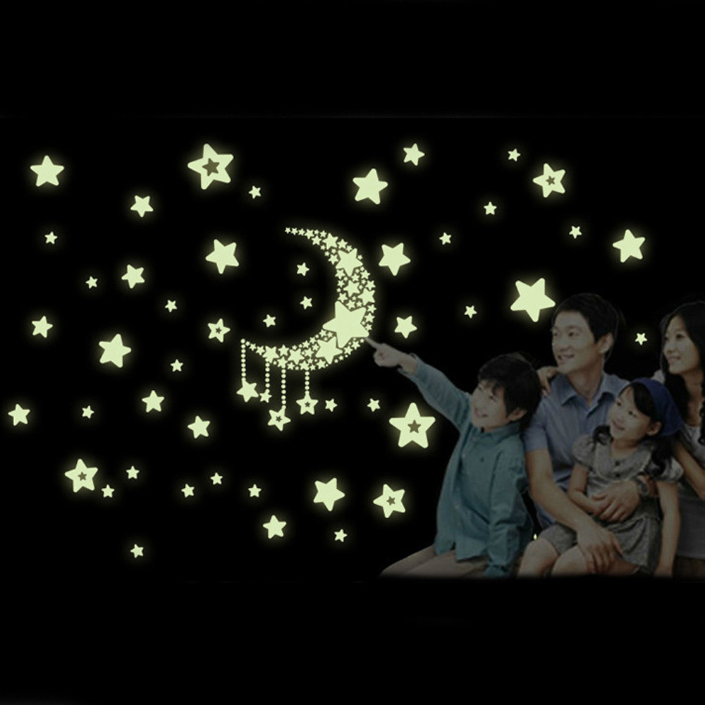 Wall stickers glowing - Wall Stickers Moon Stars Night Glow In The Dark Luminous Luminous Wall Stickers Home Decor Bed