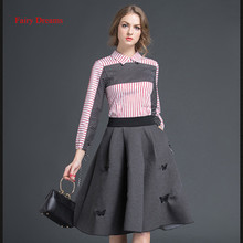 Fairy Dreams Two Piece Set Striped Shirt And Butterfly Embroidery Gray Skirts 2017 Spring Summer Style Women Suits The Feminine