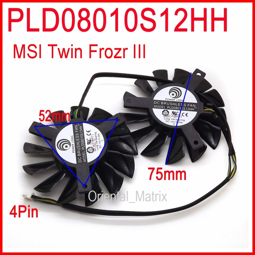 Free Shipping 2pcs/lot POWER LOGIC PLD08010S12HH DC 12V 0.35A 75mm Dual Fans Replacement Video Card Fan MSI Twin Frozr III 4Pin